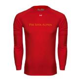 Under Armour Red Long Sleeve Tech Tee-Wordmark Flat