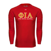 Under Armour Red Long Sleeve Tech Tee-Greek Letters Stacked