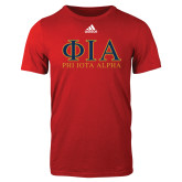 Adidas Red Logo T Shirt-Greek Letters Stacked