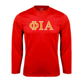 Syntrel Performance Red Longsleeve Shirt-Official Greek Letters Two Color