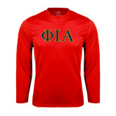 Performance Red Longsleeve Shirt-Official Greek Letters Two Color