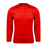 Performance Red Longsleeve Shirt-Wordmark Flat