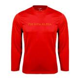 Syntrel Performance Red Longsleeve Shirt-Wordmark Flat