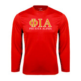 Performance Red Longsleeve Shirt-Greek Letters Stacked
