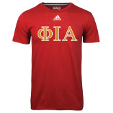 Adidas Climalite Red Ultimate Performance Tee-Official Greek Letters Two Color