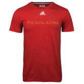 Adidas Climalite Red Ultimate Performance Tee-Wordmark Flat