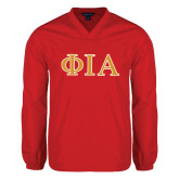 V Neck Red Raglan Windshirt-Official Greek Letters Two Color