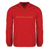 V Neck Red Raglan Windshirt-Wordmark Flat