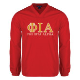V Neck Red Raglan Windshirt-Greek Letters Stacked