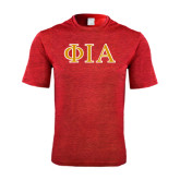 Performance Red Heather Contender Tee-Official Greek Letters Two Color