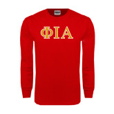 Red Long Sleeve T Shirt-Official Greek Letters Two Color