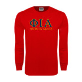 Red Long Sleeve T Shirt-Greek Letters Stacked