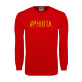 Red Long Sleeve T Shirt-Hashtag PHIOTA