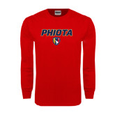 Red Long Sleeve T Shirt-PHI IOTA ALPHA Grid Gradiation