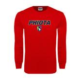 Red Long Sleeve T Shirt-PHI IOTA ALPHA Grid Gradiation