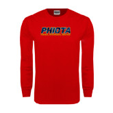 Red Long Sleeve T Shirt-Phiota Polygon Reflection