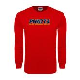 Red Long Sleeve T Shirt-Phiota Polygon Reflection