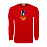 Red Long Sleeve T Shirt-Est Yeat Stacked With Phi Badge