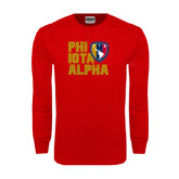 Red Long Sleeve T Shirt-PHI IOTA ALPHA Stacked Left with Badge