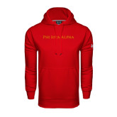 Under Armour Red Performance Sweats Team Hoodie-Wordmark Flat