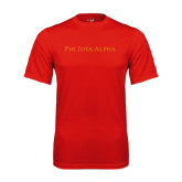 Performance Red Tee-Wordmark Flat