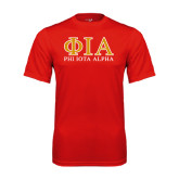 Performance Red Tee-Greek Letters Stacked