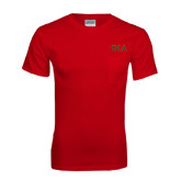 Red T Shirt w/Pocket-Official Greek Letters Two Color