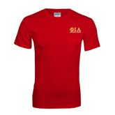 Red T Shirt w/Pocket-Greek Letters Stacked