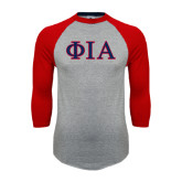 Grey/Red Raglan Baseball T Shirt-Official Greek Letters Two Color