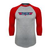 Grey/Red Raglan Baseball T Shirt-Top Gun Style