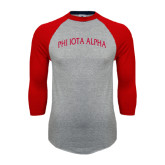 Grey/Red Raglan Baseball T Shirt-Phi Iota Alpha Arched