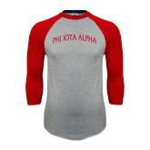 Grey/Red Raglan Baseball T Shirt-Phi Iota Alpha Arched