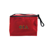 Six Pack Red Cooler-Official Greek Letters Two Color