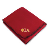 Red Arctic Fleece Blanket-Official Greek Letters Two Color
