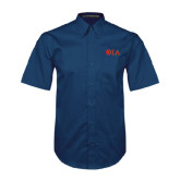 Navy Twill Button Down Short Sleeve-Official Greek Letters Two Color