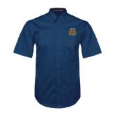 Navy Twill Button Down Short Sleeve-Crest
