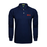 Navy Long Sleeve Polo-Official Greek Letters Two Color