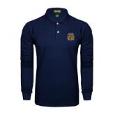 Navy Long Sleeve Polo-Crest
