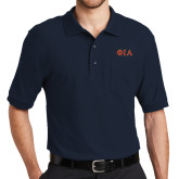 Navy Easycare Pique Polo w/ Pocket-Official Greek Letters Two Color