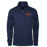 Navy Slub Fleece 1/4 Zip Pullover-Official Greek Letters Two Color