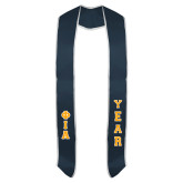 Navy Graduation Stole w/White Trim-Greek Letters Tackle Twill Stacked