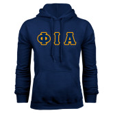 Navy Fleece Hoodie-Greek Letters Tackle Twill Flat