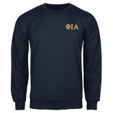 Navy Fleece Crew-Official Greek Letters Two Color