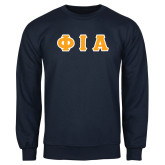 Navy Fleece Crew-Greek Letters Tackle Twill Flat