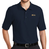 Navy Easycare Pique Polo-Official Greek Letters Two Color