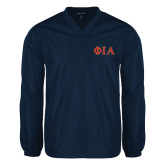 V Neck Navy Raglan Windshirt-Official Greek Letters Two Color