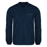 V Neck Navy Raglan Windshirt-Wordmark Flat