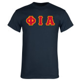 Navy T Shirt-Greek Letters Tackle Twill Flat
