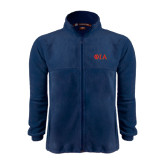 Fleece Full Zip Navy Jacket-Official Greek Letters Two Color
