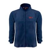 Fleece Full Zip Navy Jacket-Official Greek Letters Two Color